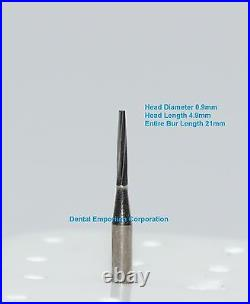 Dental Carbide Burs FG # 169L Tapered Fissure for High Speed HP 100 Package